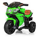 Дитячий електромобіль Мотоцикл M 3912 EL-5, 3-х колісний, Шкіряне сидіння, EVA-гума, зелений, фото 2