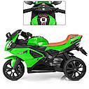 Дитячий електромобіль Мотоцикл M 3912 EL-5, 3-х колісний, Шкіряне сидіння, EVA-гума, зелений, фото 3