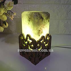 Соляной светильник  Прямоугольник в дереве Бабочки