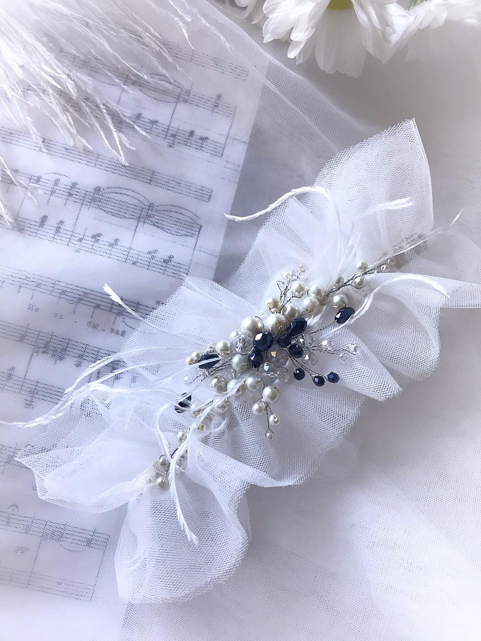 Подвязка свадебная черно Белая