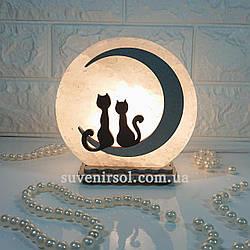 Соляной светильник круглый маленький Коты на луне цветной