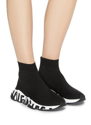 Жіночі кросівки Balenciaga Speed Graffiti Trainers в стилі Баленсіага Снід Трейнер ЧОРНІ (Репліка ААА+)