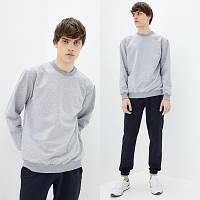 Мужской серый однотонный Свитшот без начеса, легкий свитер, кофта весна-осень