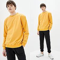 Мужской желтый однотонный Свитшот без начеса, легкий свитер, кофта весна-осень