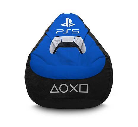 """Кресло мешок """"PS 5. Blue"""" Флок, фото 2"""