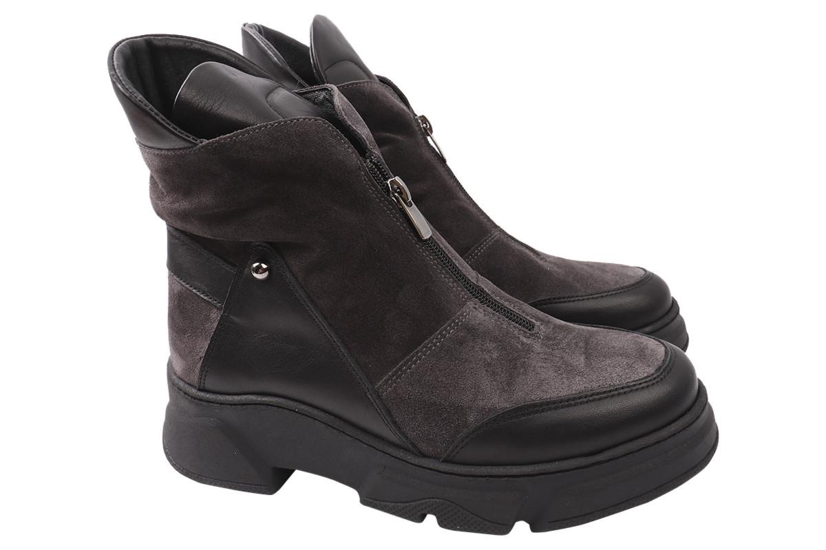 Ботинки женские зимние на платформе из натуральной замши, черные Guero Турция