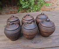Горшочки для запекания 6 шт из красной керамики узор «Волна»