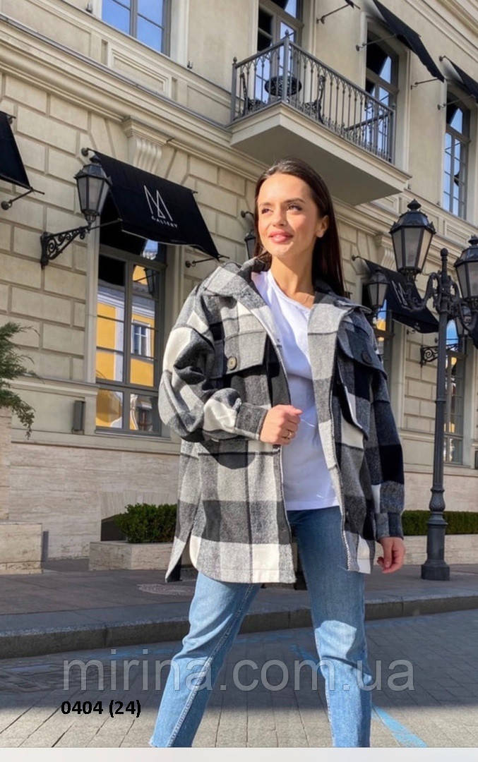 Модная женская куртка-рубашка в клетку 0404 (24)