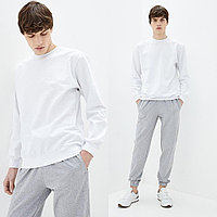 Мужской белый однотонный Свитшот без начеса, легкий свитер, кофта весна-осень