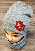 Комплект детский шапка и хамут (варианты расцветок, трикотаж, 54 55 рр)