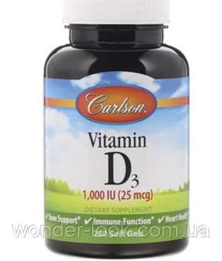 Carlson Labs, Вітамін D3, 1000 МО (25 мкг), 250 м'яких таблеток