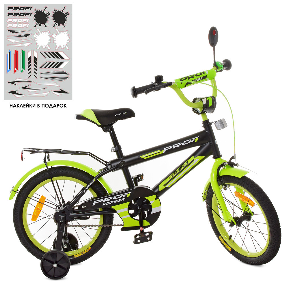 Велосипед детский PROF1 16д. SY1651 Inspirer,черно-салатовый