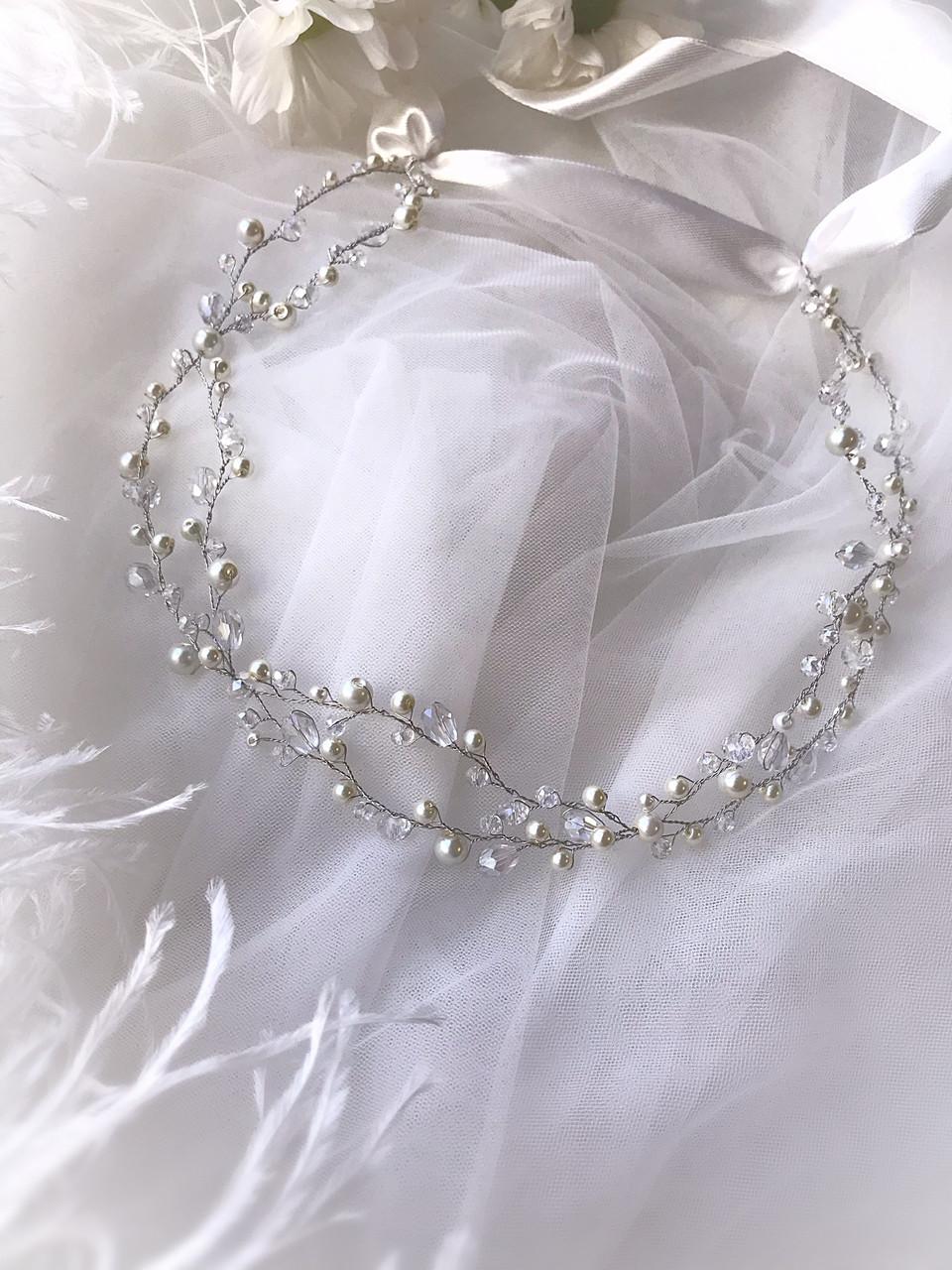 Веночек свадебный хрусталь и молочный жемчуг