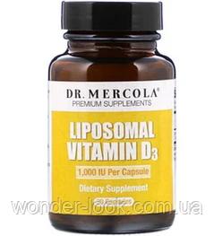 Dr. Mercola, Липосомальный витамин D3, 1000 МЕ, 30 капсул
