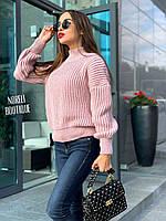 Объёмный женский свитер , джемпер крупной вязки, очень теплый