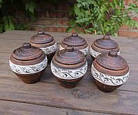 Горшочки для запекания 6 шт из красной керамики ангоб №1