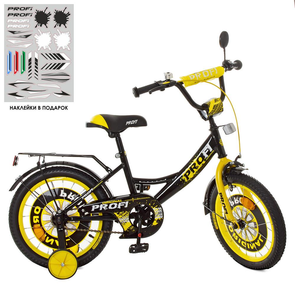 Велосипед детский PROF1 16д. XD1643 Original boy,черно-желтый