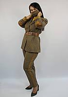Женский стильный брючный костюм батал в клетку ЛЮКС-качество коричневый деловой офисный классический осенний