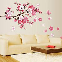 Виниловая наклейка на стену «Ветка Сакуры». Декоративная интерьерная наклейка на обои. Цветы.