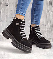 Дерзкие замшевые женские ботинки на тракторной платформе и шнурках, размеры 36-41