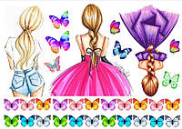 Вафельная картинка Девушки с бабочками | Съедобные картинки девушки | Девушки картинки разные Формат А4