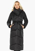 Воздуховик Braggart Angel's Fluff 47260 | Куртка черная женская на зиму длинная, фото 1
