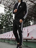 Спортивный костюм мужской ADIDAS Олимпийкой + штаны лампасы LUX Реплика (Разные цвета) Черный