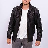Мужская кожаная куртка Paul Kehl черная натуральная бомбер сток!