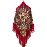 Над серебряной водой 734-5, павлопосадский платок шерстяной  с шерстяной бахромой, фото 2