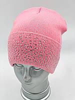 ОПТ, Вязана шапка ковпак з відворотом для дівчинки на флісі «Розсип», без зав'язок, фото 1
