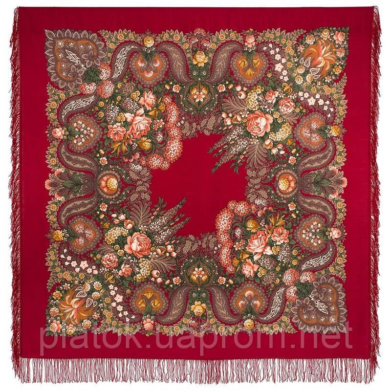 Над серебряной водой 734-5, павлопосадский платок шерстяной  с шерстяной бахромой
