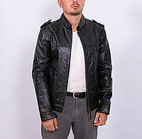 Мужская кожаная куртка чёрная BATISTINI Италия натуральная дизайнерская