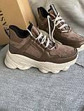 Коричневые спортивные кроссовки на платформе, фото 5
