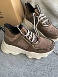 Коричневые спортивные кроссовки на платформе, фото 4