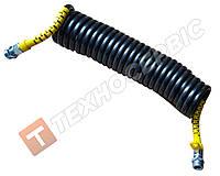 Шланг причепа спіральний чорний з жовтими наконечниками (М22х1.5) 5.5 м(РЕ) поліетилен (пр-під