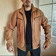 Мужская кожаная куртка коричневая натуральная G3000 blackout Швейцария