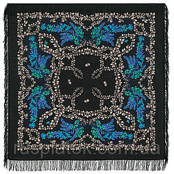 Рябина 352-22, павлопосадский платок шерстяной  с шерстяной бахромой