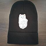 Стильна модна шапка с котом показывающим фак, фото 3