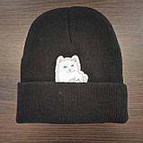 Стильна модна шапка с котом показывающим фак, фото 4