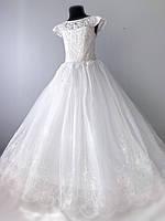 Нарядное платье для девочки молочного цвета с кружевом, фото 1
