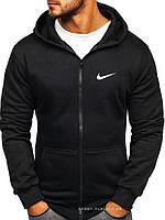 Утепленная мужская толстовка Nike (Найк) ЗИМА черная с начесом на замку, мастерка олимпийка