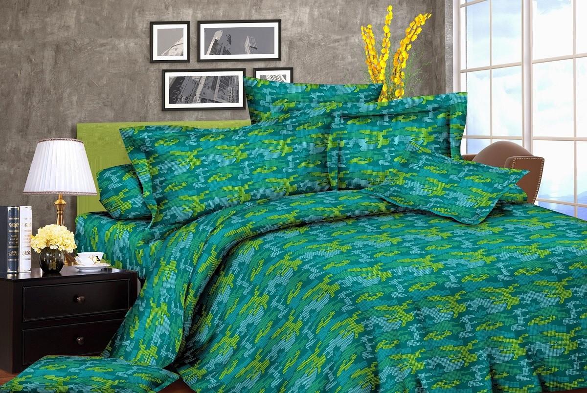 Постельное белье жатка Мозаика зеленая