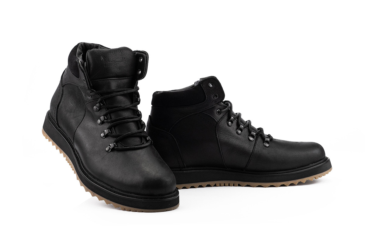 Мужские ботинки кожаные зимние черные Multi-shoes Boomer