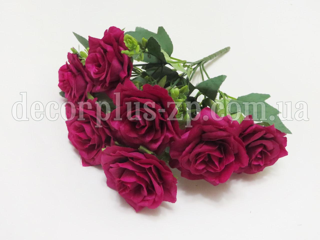 "Букетик 28см,  ""Роза садовая"",  (7 веток), темная фуксия"