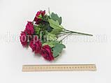 """Букетик 28см,  """"Роза садовая"""",  (7 веток), темная фуксия, фото 2"""