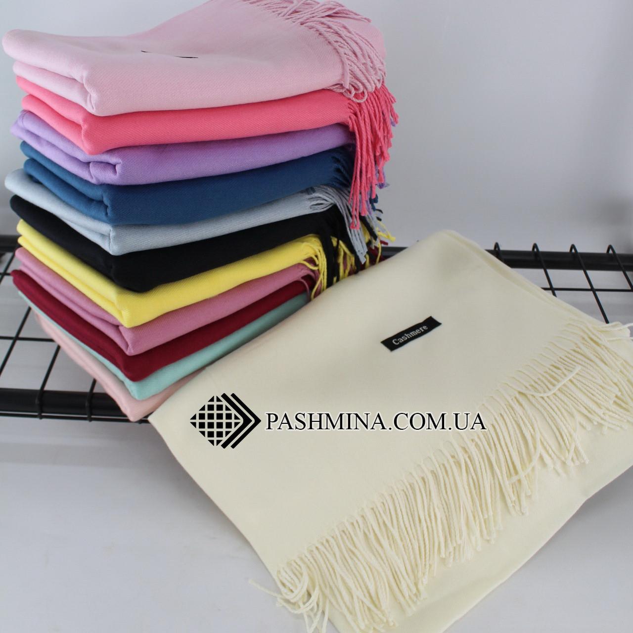 Кашемировый однотонный молочный шарф палантин Cashmere 104001