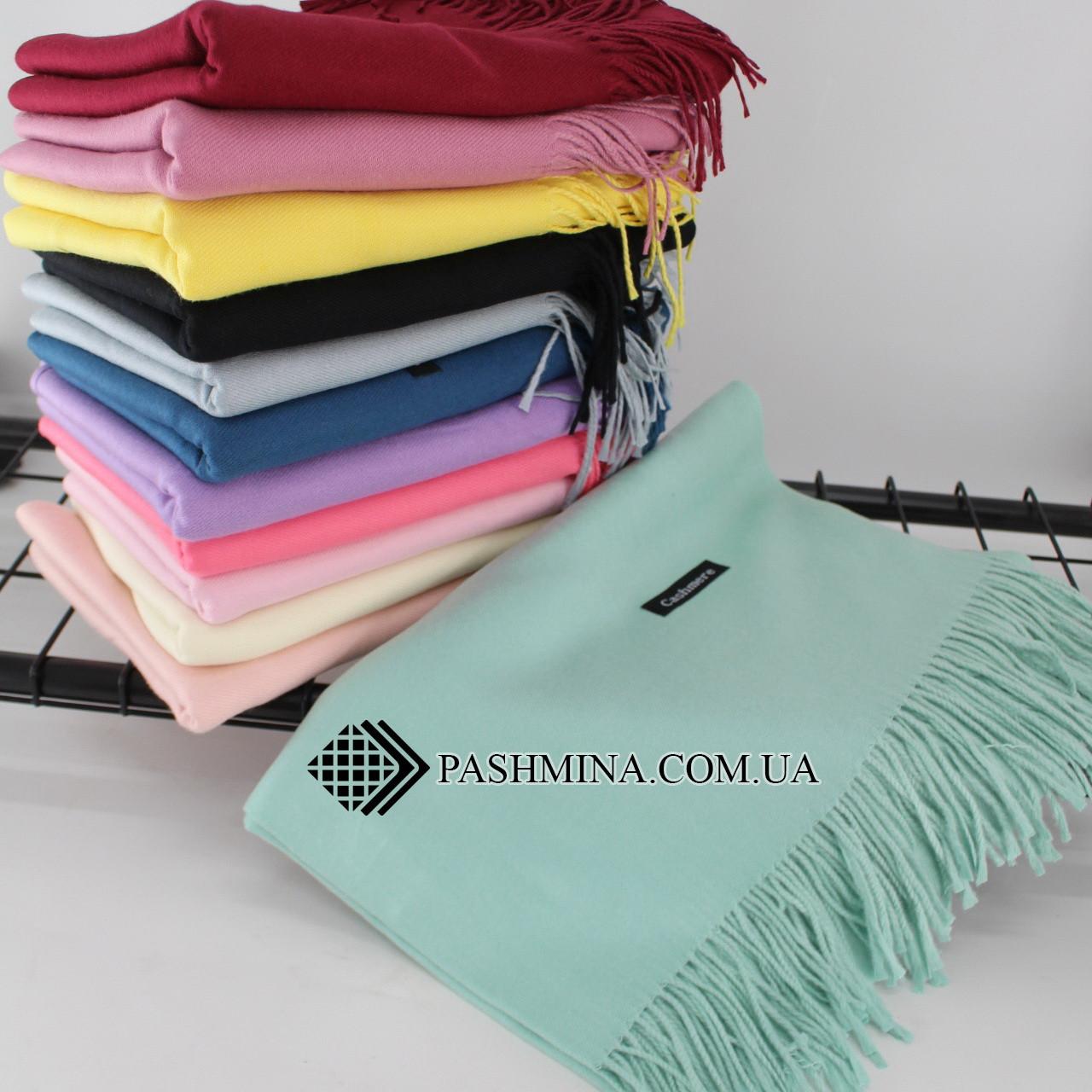 Кашемировый однотонный минтоловый шарф палантин Cashmere 104011