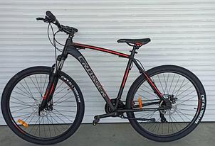 Двухколесный спортивный велосипед 29 дюймов 22 рама Crosser Inspiron черно-красный