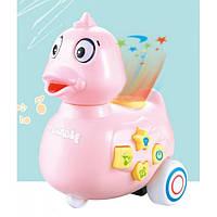 Игрушка Электронная Музыкальная Лед лампа Мультяшная уточка D Jin Shang Lu розовая   Іграшка Електронна