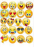 Вафельная картинка Смайлы  | Съедобные картинки Smile | Смайлы на торт картинки разные Формат А4, фото 2